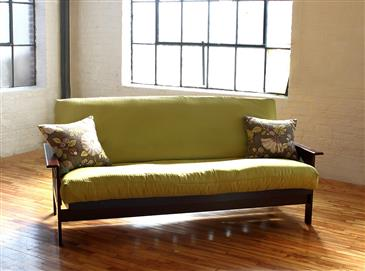 Medium image of white lotus home green cotton boulder futon without fire retardant