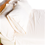 Bed Pillow Covers in Organic Cotton Sateen in Natural